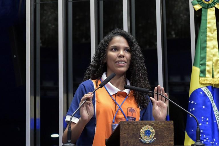 A estudante Maria Regina Lima da Silva, do Centro Educa Mais Raimundo Araújo, Chapadinha, Jovem Senadora 2018